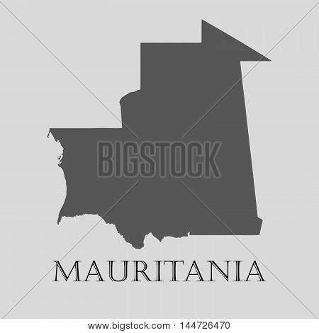 Gray Mauritania map on light grey background. Gray Mauritania map - vector illustration.