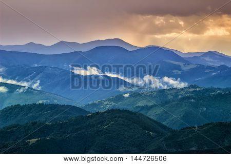 Picturesque Carpathian mountains landscape view of the mountain ridges Ukraine
