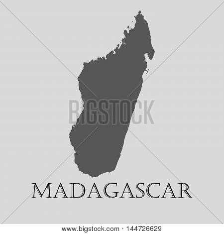 Gray Madagascar map on light grey background. Gray Madagascar map - vector illustration.