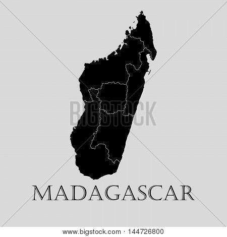 Black Madagascar map on light grey background. Black Madagascar map - vector illustration.