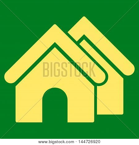 Real Estate icon. Glyph style is flat iconic symbol, yellow color, green background.
