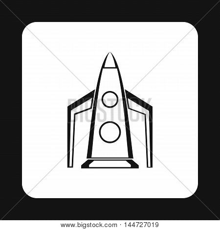 Rocket for space flight icon in simple style isolated on white background. Aircraft symbol