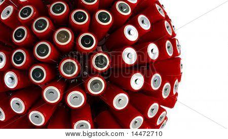 Batterien 3d Rendering-Energiekonzept