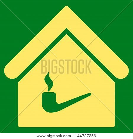 Smoking Room icon. Glyph style is flat iconic symbol, yellow color, green background.