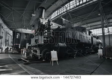 2016/08/28 - Chomutov Czech republic - black steam locomotive 423.001