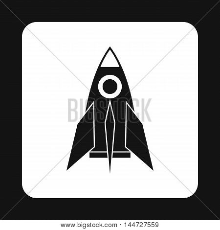Rocket icon in simple style isolated on white background. Aircraft symbol