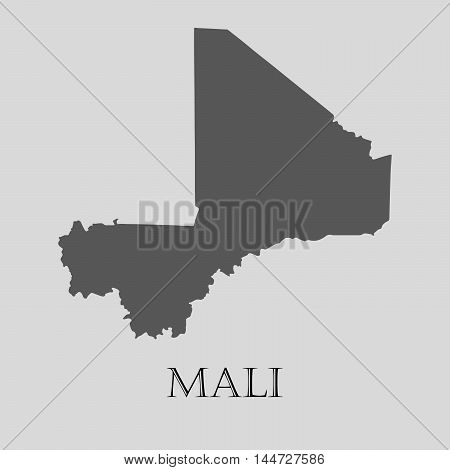 Gray Mali map on light grey background. Gray Mali map - vector illustration.