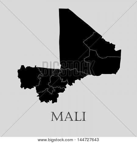 Black Mali map on light grey background. Black Mali map - vector illustration.