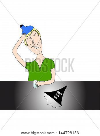 Man sitting at table with ice pack on hand drinking alka seltzer with New Year's party hat.