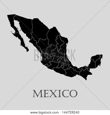 Black Mexico map on light grey background. Black Mexico map - vector illustration.