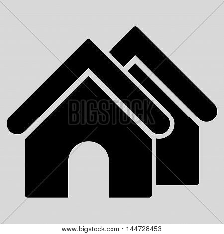 Real Estate icon. Glyph style is flat iconic symbol, black color, light gray background.