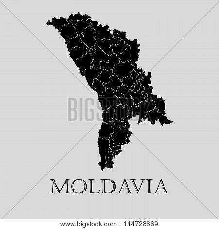 Black Moldavia map on light grey background. Black Moldavia map - vector illustration.