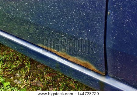 Heavily rust and corrosion on the body of a car door
