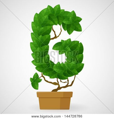 Letter G. Tree in the pot. Vector alphabet letters made from green leaves.