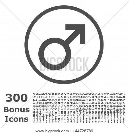 Male Symbol rounded icon with 300 bonus icons. Vector illustration style is flat iconic symbols, gray color, white background.