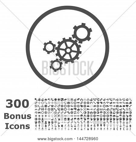 Mechanism rounded icon with 300 bonus icons. Vector illustration style is flat iconic symbols, gray color, white background.