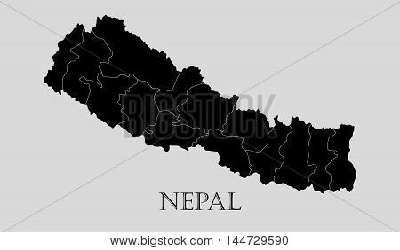 Black Nepal map on light grey background. Black Nepal map - vector illustration.