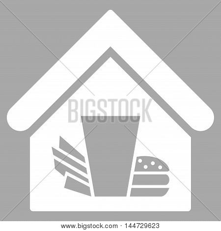 Fastfood Cafe icon. Glyph style is flat iconic symbol, white color, silver background.