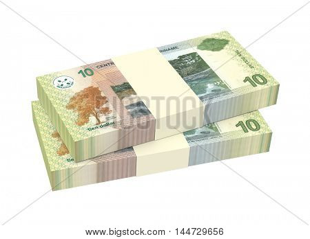Surinamese dollar bills stack isolated on white background. 3D illustration.