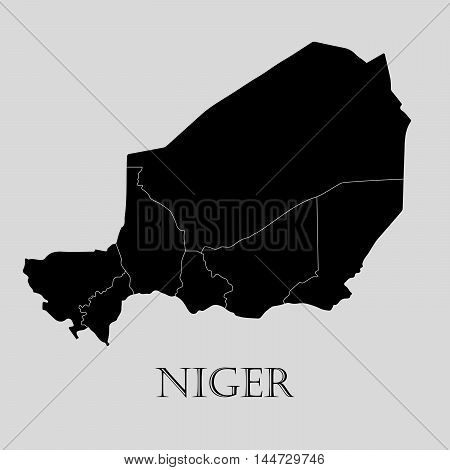 Black Niger map on light grey background. Black Niger map - vector illustration.