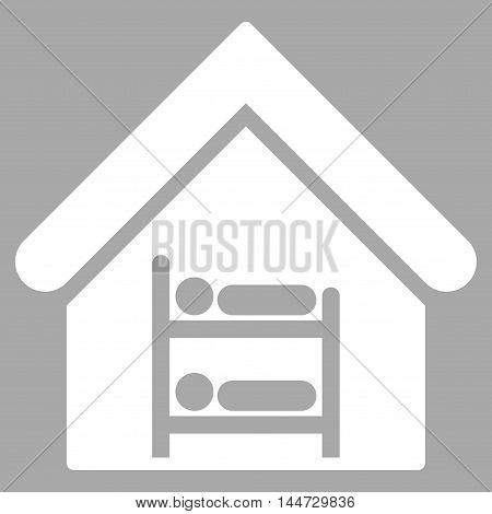 Hostel icon. Glyph style is flat iconic symbol, white color, silver background.