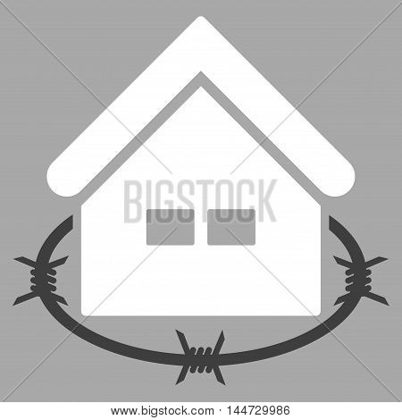 Prison Building icon. Glyph style is flat iconic symbol, white color, silver background.