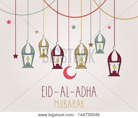 Eid Al Adha mubarak hand drawn poster. Hanging colorful lantern. Vector illustration.