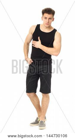 Strong Man In Shorts Isolated Over A White