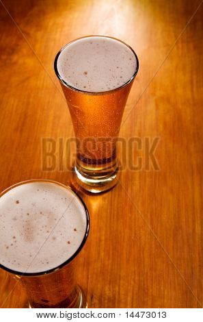 Close-up Of Two Beer Glasses