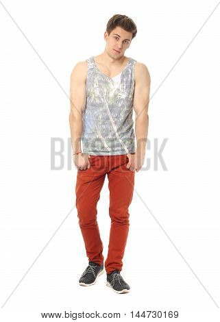 Handsome Casual Man Isolated Over A White Background