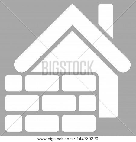 Realty Brick Wall icon. Glyph style is flat iconic symbol, white color, silver background.