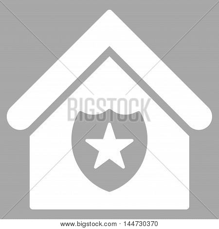 Realty Protection icon. Glyph style is flat iconic symbol, white color, silver background.