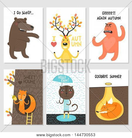 Set of cards - autumn, rain, friendly animals