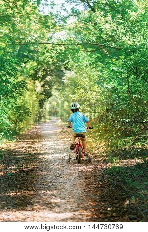 Child riding a bicycle. Kid in a helmet riding a bike in the forest. Beautiful baby. Toned image.