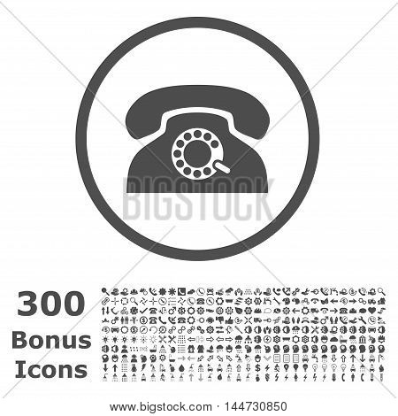 Pulse Phone rounded icon with 300 bonus icons. Vector illustration style is flat iconic symbols, gray color, white background.