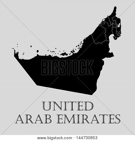 Black United Arab Emirates map on light grey background. Black United Arab Emirates map - vector illustration.