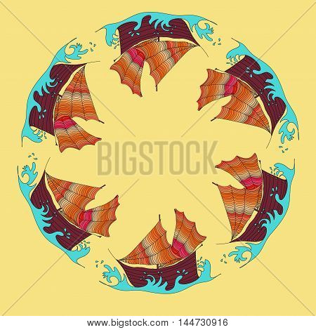 Vector symmetrical round image with colored ships. Travel pattern.