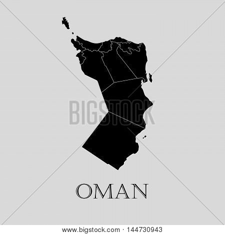 Black Oman map on light grey background. Black Oman map - vector illustration.