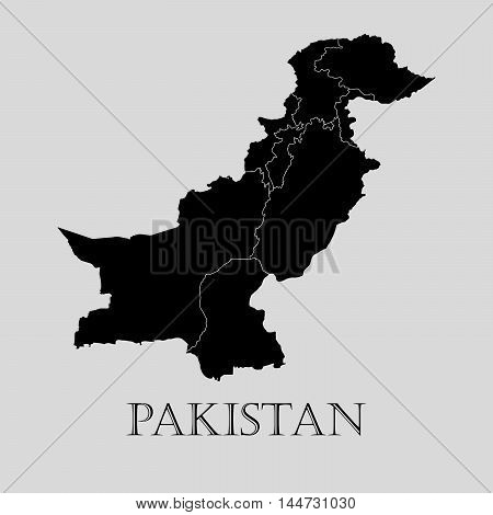 Black Pakistan map on light grey background. Black Pakistan map - vector illustration.