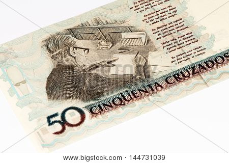 50 Brasilian cruzados novos bank note. Cruados is the former currency of Brasil
