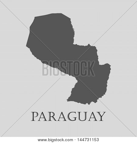 Gray Paraguay map on light grey background. Gray Paraguay map - vector illustration.