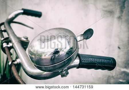 Bicycle metal ringing bell on the hands