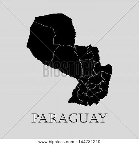 Black Paraguay map on light grey background. Black Paraguay map - vector illustration.