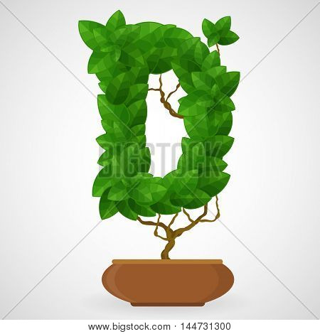 Letter D. Tree in the pot. Vector alphabet letters made from green leaves.