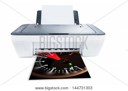 Printer is printing photos isolated on white