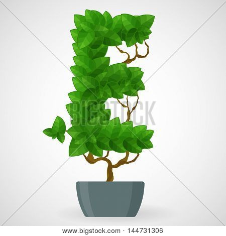 Letter E. Tree in the pot. Vector alphabet letters made from green leaves.