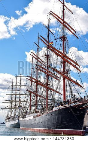 ROSTOCK, GERMANY - AUGUST 2016: Four-master sailing ship STS Sedov, formerly Magdalene Vinnen II and Kommodore Johnsen. Sedov is Four-masted steel barque and a sail training vessel.
