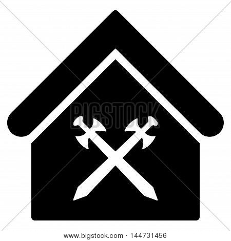 Guard Office icon. Glyph style is flat iconic symbol, black color, white background.