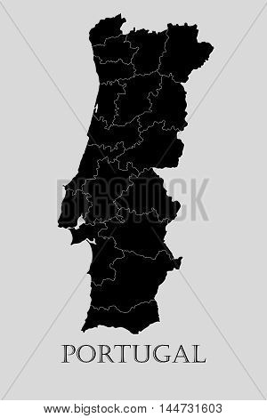 Black Portugal map on light grey background. Black Portugal map - vector illustration.