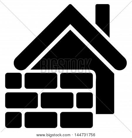 Realty Brick Wall icon. Glyph style is flat iconic symbol, black color, white background.